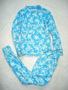 L.L. BEAN Girls Blue SNOWFLAKE Pnk CAMOUFLAGE Long Johns Thermal Base Layer SUIT