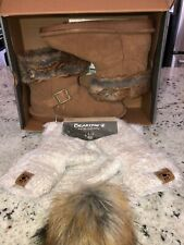 Bearpaw Neverwet Korinna Hickory Brown Boot Size 7 With Hat And Gloves