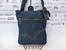 GUESS plate Bandoulière Sac logo estivale bleu Denim Slim sacs toile Case BNWT R £ 39