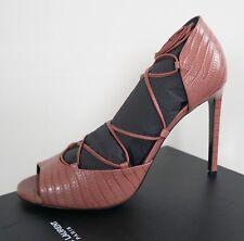 """NIB SAINT LAURENT """"JANE 150"""" Blush Peep Toe Lace-up Sandal Shoes EUR-40 US-10"""