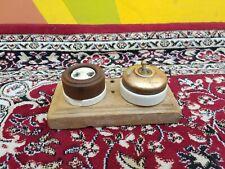 Old Original Rare Crabtree Brass & Ceramic Electric Switch & Bakelite Socket