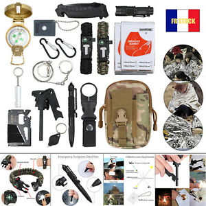 Kit de survie d'urgence 18 outils Equipement Sport Extérieur Camping Randonnée