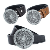Retro Leather  Cowgirl Mayan Sun Calendar Buckle Belt Men