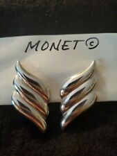 Monet Silver Tone Feather Wing Clip On Signed Earrings