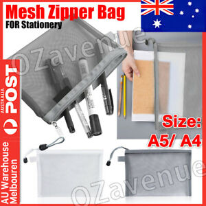 2 Sizes Clear Pencil Case Office Mesh Zipper Stationery Bag School Document Bag