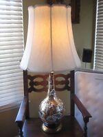 Vintage Mid Century Hollywood Regency Design Marbro Porcelain Lamp With Shade