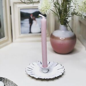 Vintage White Scalloped Tapered Candle Holder Dish Shabby Chic Weddings