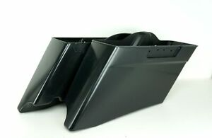 """V-Twin 3"""" Stretched ABS Extended Dual Saddlebags CVO Style Bags Raw Harley 93-13"""
