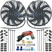 """DUAL 9"""" INCH ELECTRIC RADIATOR COOLING FANS & 3/8"""" NPT FAN GROUND THERMOSTAT KIT"""