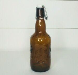 Vintage Amber Brown Empty Beer Bottle Grolsch Georgia Porcelain Sing Top Lid