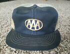 Vtg AAA Club Patch Hat Mesh Trucker SnapBack Cap Swingster USA Two-Tone