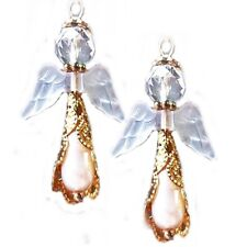 Golden Angel White Pearl Lucite wings earrings clip on or pierced Christmas