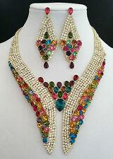 Elegant Multi Color & Clear Crystal Gold Tone Bib Statement Necklace Earring Set