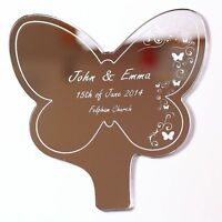 Personalised Butterfly Swirl Engraved Mirror Wedding or Anniversary Cake Topper