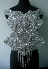 BD56 Elegant Bodice Sequin Beaded Applique Silver Designer/Dancewear/Samba Motif