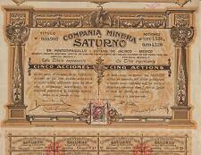 MEXICO SATURNO MINING COMPANY BOND stock certificate 1910 W/COUPONS