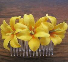 "Triple  2"" Canary Lily Silk Flowers Hair Comb, Bridal, Dance,Luau,Hair,Accessory"