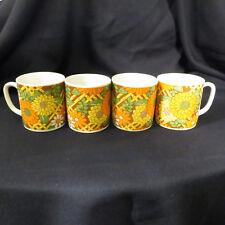 Set 4 vintage coffee mugs SUMMER floral 60's or 70's Orange Yellow White Brown