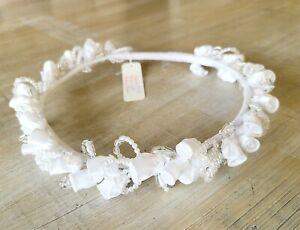 White Floral Wedding Communion Flower Girl Bride Crown Headpiece