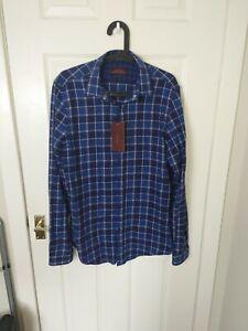 Zara Man, Blue/Navy Mix, Check Button up Shirt Medium Men's Flannel New