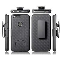 BLACK HARD SHELL COMBO CASE KICK-STAND SWIVEL CLIP HOLSTER F3Y for GOOGLE PIXEL