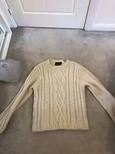 100% Merino Wool Jumper Cream Aran