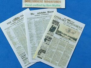 1:12 Scale, 3 x TIMES LITERARY SUPPLEMENT,  Hand Crafted By Ken Blythe
