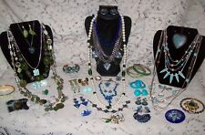 Vintage & Modern Blue & Green Costume Jewelry Lot - Monet, Sterling