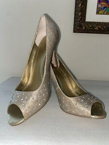 Style & Co Size 10 Women's Slip On Heels Rose Gold Shoes Jewels Diamonds Formal
