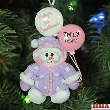 New Kurt Adler Snowman Baby`s Girl 1st Personalized Christmas Tree Ornament