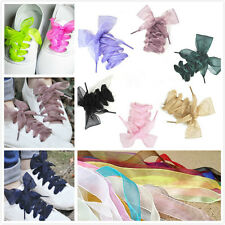 Cute New Shoelaces Flat Silk Satin Ribbon Sport Shoes Laces Sneakers Shoestrings