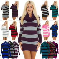 New Womens Ladies Stripped Knitted Tunic Cowl Neck Sweater Jumper Size S M L XL