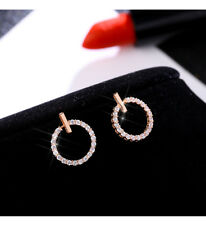 e0b9a7212 18K Rose Gold Plated Sparkling Circle Stud Earrings + gift bag