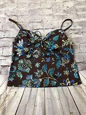Victoria Secret 34B Tankini Brown Blue  Floral Adjustable Strapa