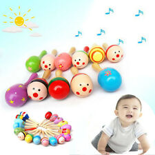 Wooden Maraca Wood Rattles Kids Musical Party favor Child Baby shaker Toy USTOP