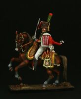 ELITE TIN SOLDIER: Officer of Mounted Chasseur of Guard 54 mm,metal sculpture.