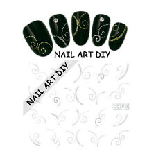 Nail Art water transfer Stickers-Decals Silver-Adesivi unghie-colore d'ARGENTO