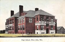 West Allis Wisconsin~High School~Balconies~Porches~Clapboard House~1909 Postcard