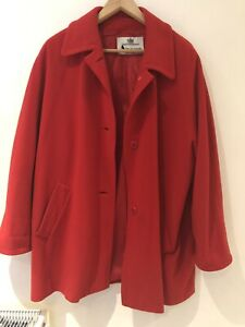 Ladies Red Cashmere Swing Coat