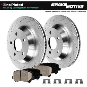 For Audi Q5 S4 S5 SQ5 Rear Drilled Slotted Brake Rotors And Ceramic Pads