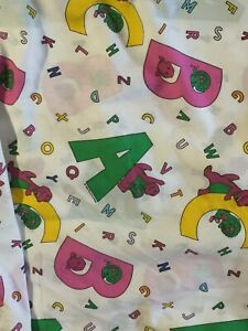 A B C Barney the Purple Dinosaur Twin Fitted Bed Sheet  Cutter Fabric