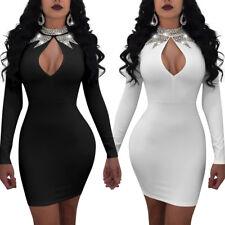Sexy Women Keyhole Rhinestone Package Hip Bodycon Cocktail Party Club Dress