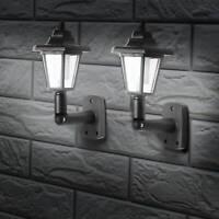 2 x LED SOLAR POWERED WALL LANTERN LAMP SUN LIGHTS Vintage OUTDOOR MOUNT GARDEN