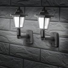 More details for 2 x led solar powered wall lantern lamp sun lights vintage outdoor mount garden