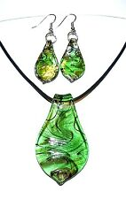 "MN424L Green, Black & Golden Swirl Lampwork Glass Pendant 18"" Necklace & Earring"