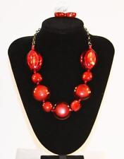 Jewelry Gold Tone Red Translucent Jxfk Necklace & Earrings Set Premium Fashion