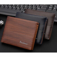 Men's Vintage Leather Bifold Purse ID Credit Card Holder Clutch Short Wallet