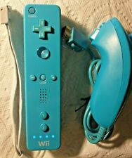 Official OEM Wii Remote Blue Teal Remote Wiimote with unbranded Nunchuk- Tested.
