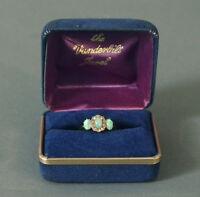 Vintage Opal (3) and Diamond Ring, 14K