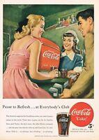 1940s Original Vintage Coca Cola Ladies Fashion Golf Soda Fountain Art Print Ad
